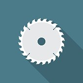 Circular saw blade icon with long shadow. Flat design style.