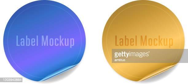 kreisförmigen glänzenden aufkleber - aufkleber stock-grafiken, -clipart, -cartoons und -symbole