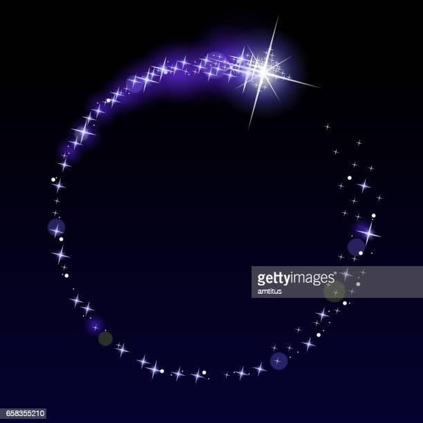 circular shooting star - star shape stock illustrations, clip art, cartoons, & icons