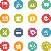 Circular shopping themed icons in various colors