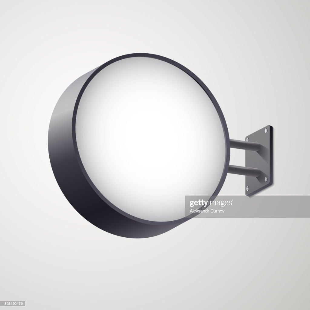 3D circular signboard mock up isolated on gray background. Circular illuminated lightbox with empty space for design. Applicable for restaurant, hotel, night club  presentation. Vector eps 10.