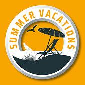 circular summer vacations vector logo