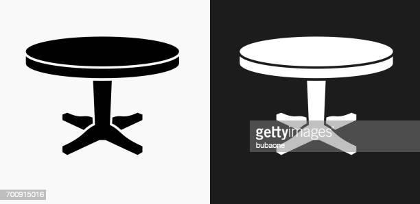 ilustrações, clipart, desenhos animados e ícones de ícone de mesa circular em preto e branco vector backgrounds - mesa mobília