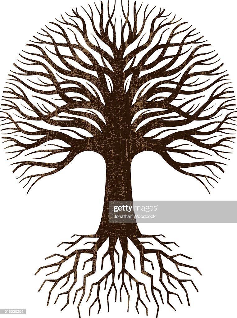 Circular tree and roots logo : stock illustration