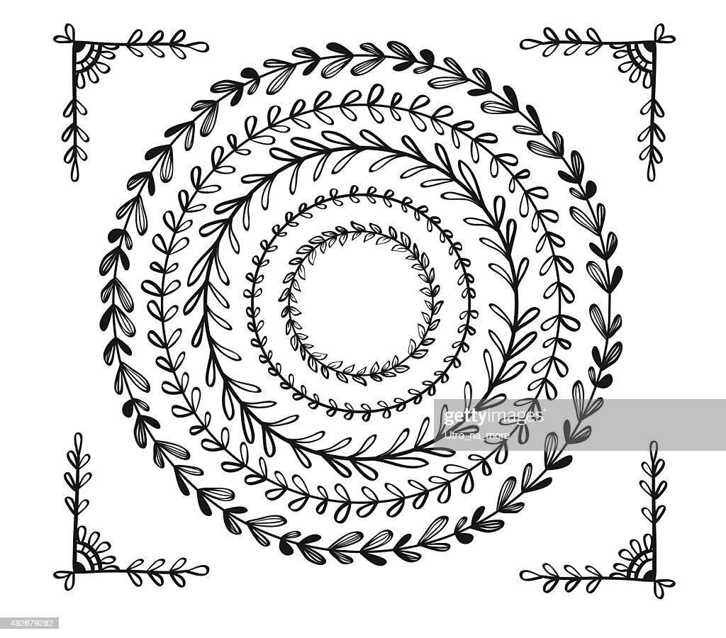 Circular vintage floral hand drawn frames.Vector illustration.