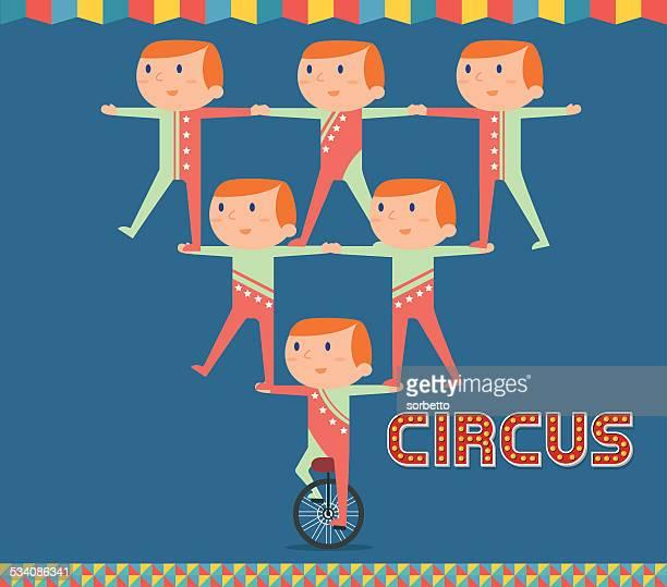 circus acrobatics show - unicycle stock illustrations, clip art, cartoons, & icons
