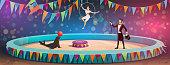 Circus acrobats and animal juggling show