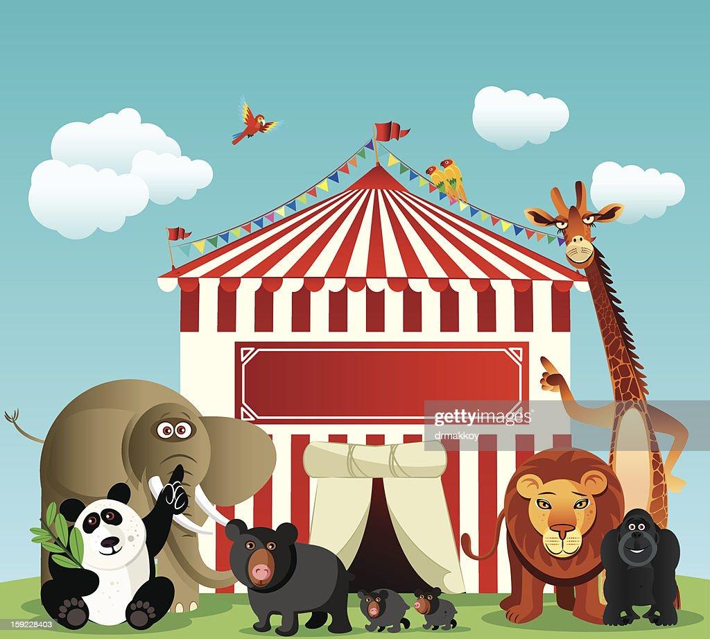 Circo e animais : Arte vetorial