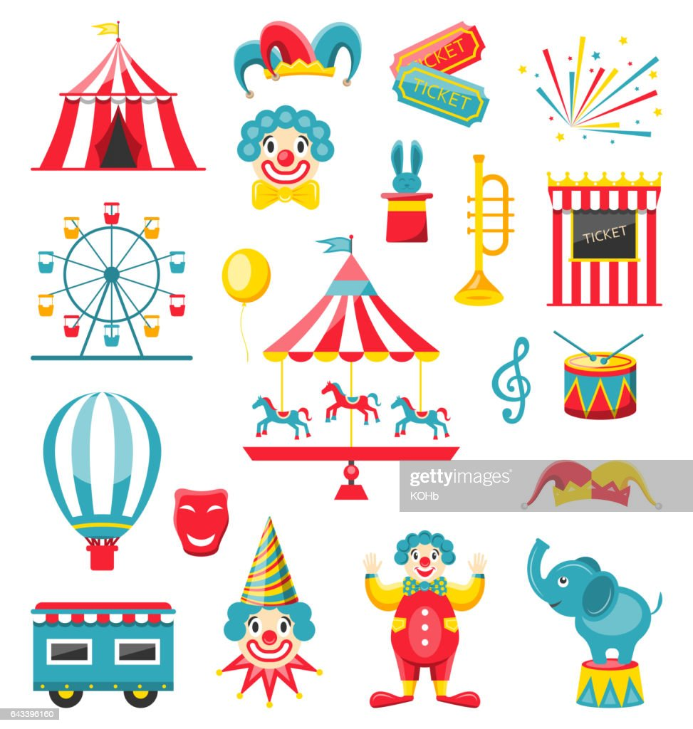 Circus and Carnival Icons Isolated on White Background