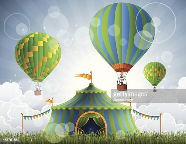 ilustraciones, imágenes clip art, dibujos animados e iconos de stock de circus y globos aerostáticos - carpa de circo
