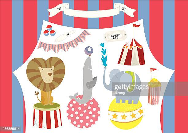 Circus Animals Performing and Tent