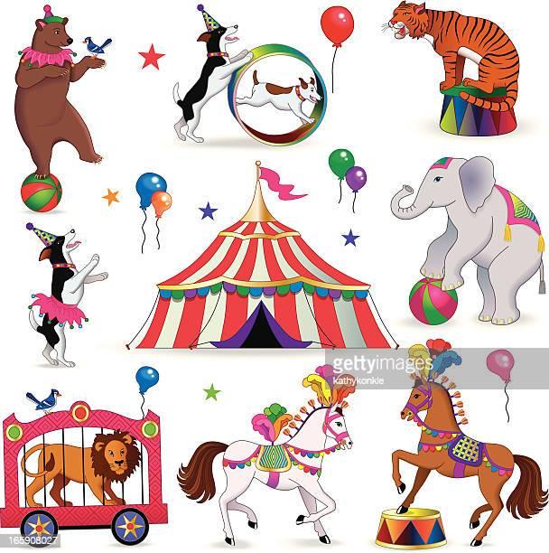ilustraciones, imágenes clip art, dibujos animados e iconos de stock de circus los animales - carpa de circo