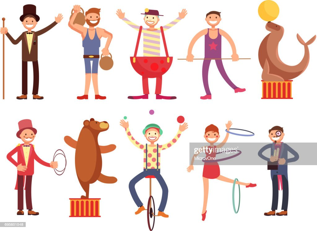 Circus artists cartoon characters vector set. Acrobat and strongman, magician, clown, trained animals