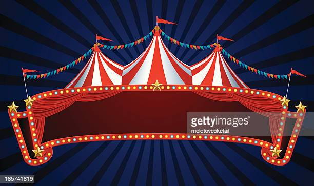 circus banner - tent stock illustrations, clip art, cartoons, & icons