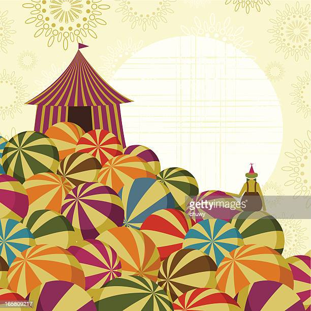 Circus big top and clown background