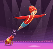 Circus cannon show. Shooting gun on cirque arena performer clowns on stage vector cartoon background