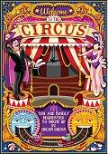 Circus Carnival Tent Invite Theme Park Poster Vector Illustration