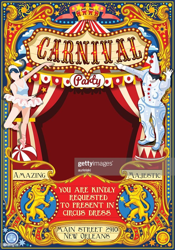 Circus Carnival Theme vintage 2d vector