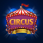 Circus carnival vector sign with light bulb frame