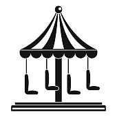Circus carousel icon, simple style