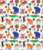 Circus cartoon animals