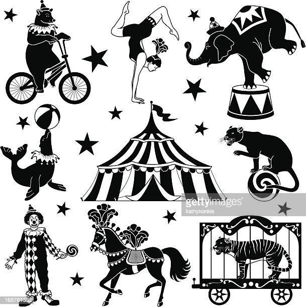illustrations, cliparts, dessins animés et icônes de circus caractères - chapiteau de cirque