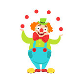 Circus Clown Artist In Classic Outfit With Red Nose