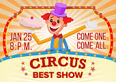 Circus Clown Banner Blank Vector. Traveling Circus Amazing Show. Carnival Festival Performances Announcement. Illustration