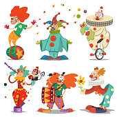 Circus clown character in different actions: juggling, riding unicycle, with flower in hands, monkey. Vector cartoon icons set isolated on a white background.