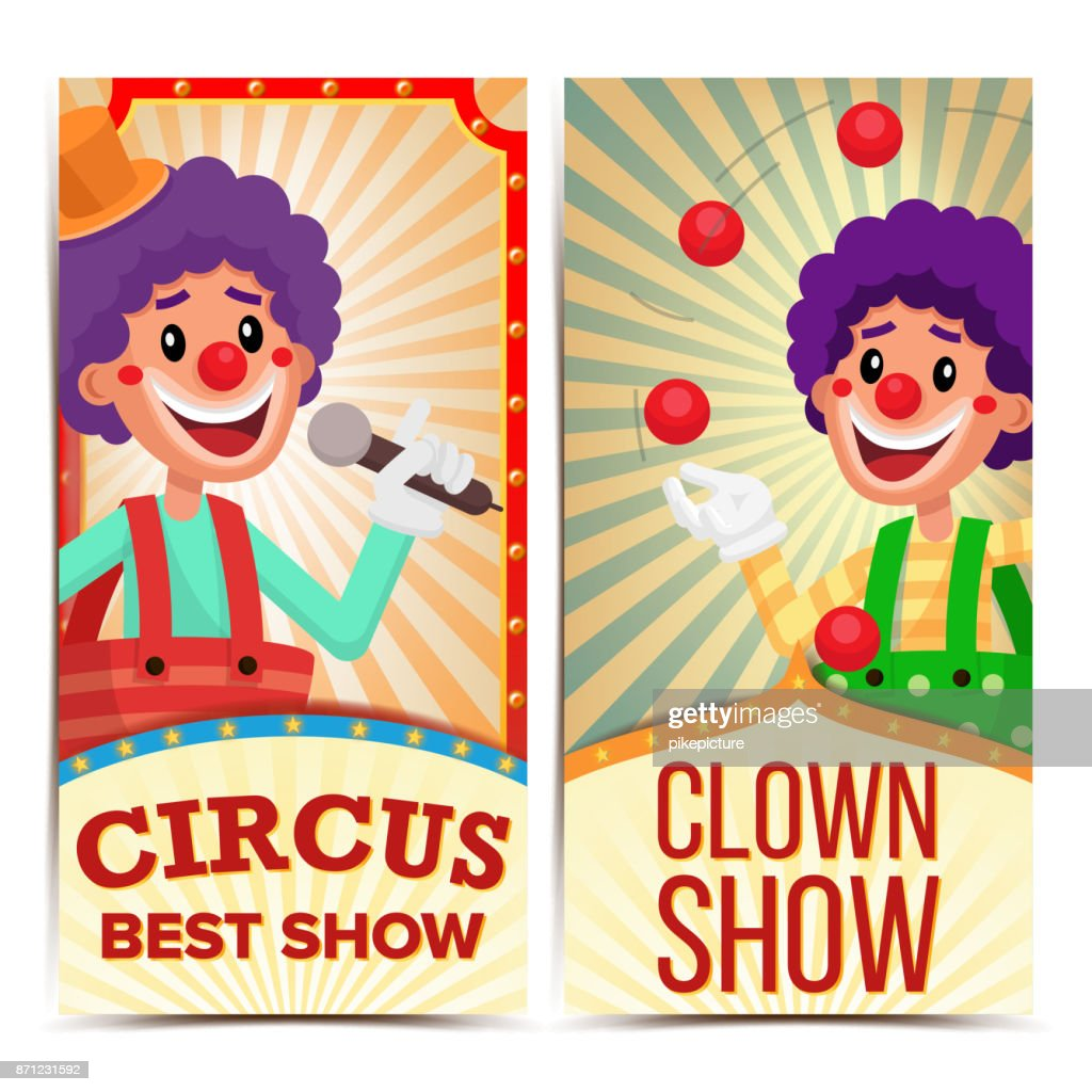 Circus Clown Vertical Banners Template Vector. Amazing Show Poster Template. Amusement Park Party. Carnival Festival Background. Illustration
