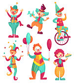 Circus clowns. Cartoon clown comedian juggling, funny clowns nose or jester party circus costume. Vector illustration set