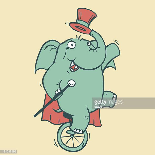 circus elephant - 4 - unicycle stock illustrations, clip art, cartoons, & icons