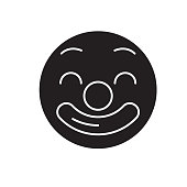Circus emoji black vector concept icon. Circus emoji flat illustration, sign