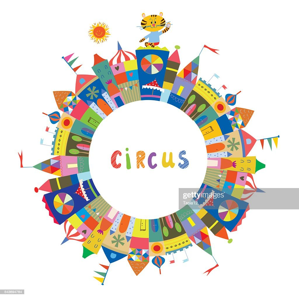Circus Frame For The Card Or Banner Funny Design Vector Art | Getty ...