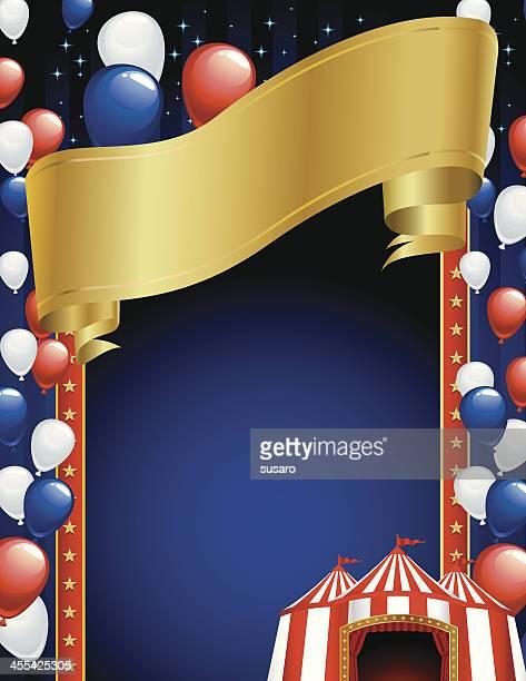 ilustraciones, imágenes clip art, dibujos animados e iconos de stock de circo con globos bastidor - carpa de circo
