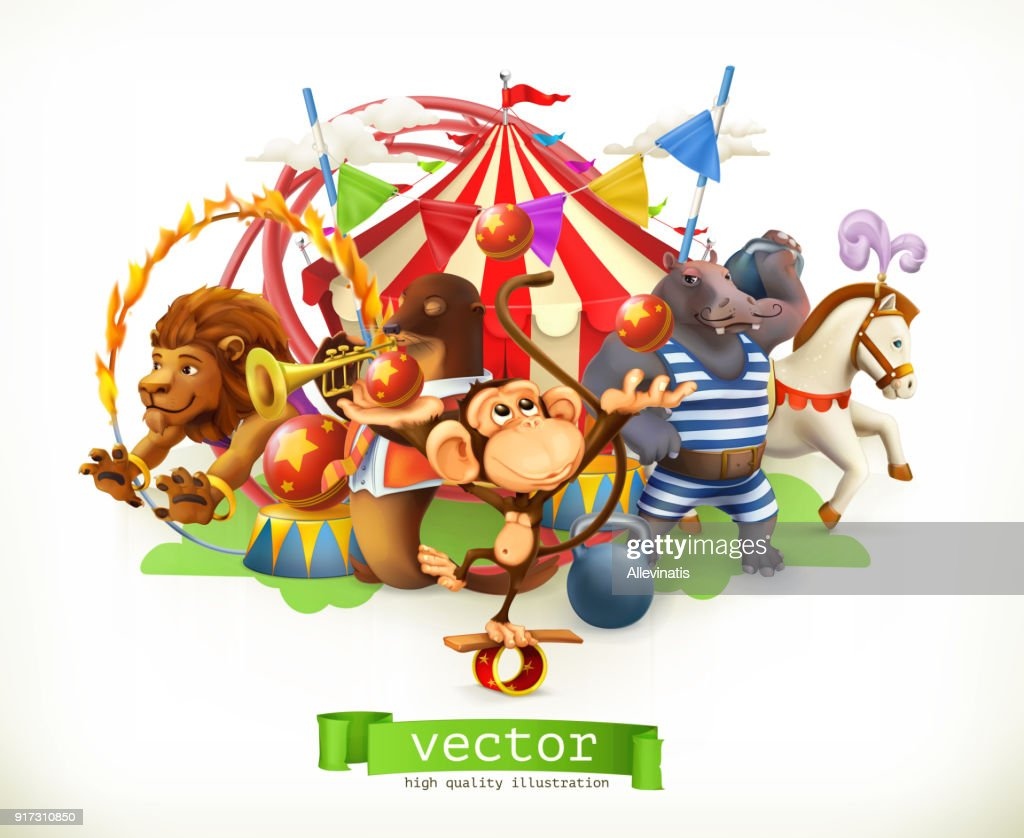 Circus, funny animals. Monkey, lion, horse, hippo. 3d vector