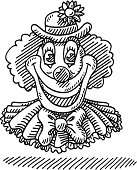 Circus Happy Clown Face Drawing