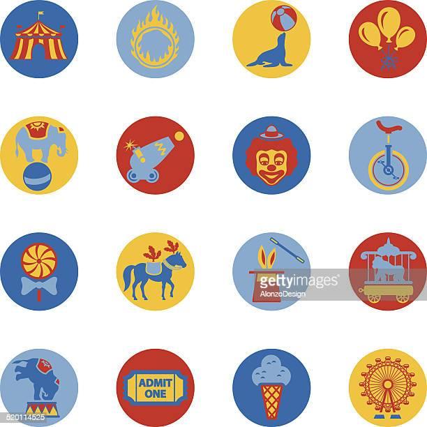 circus icon-set - fire ape stock-grafiken, -clipart, -cartoons und -symbole