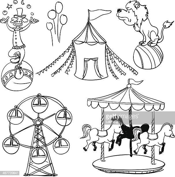Circus illustration in black and white