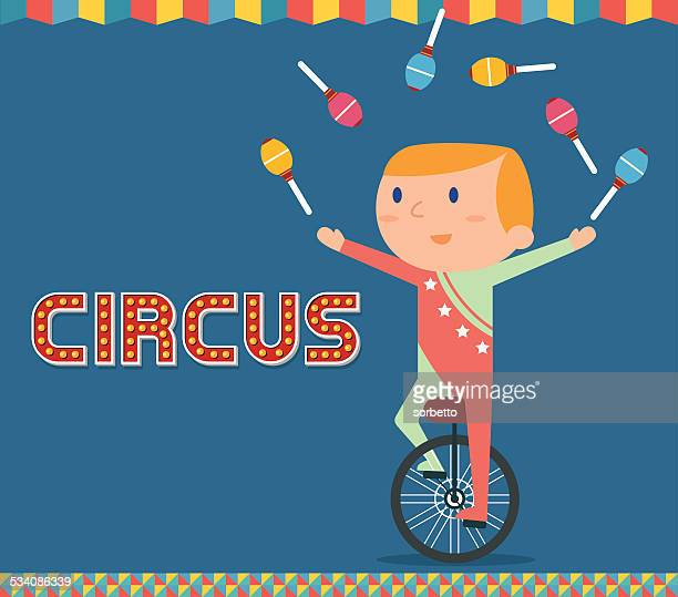 circus juggling show - unicycle stock illustrations, clip art, cartoons, & icons