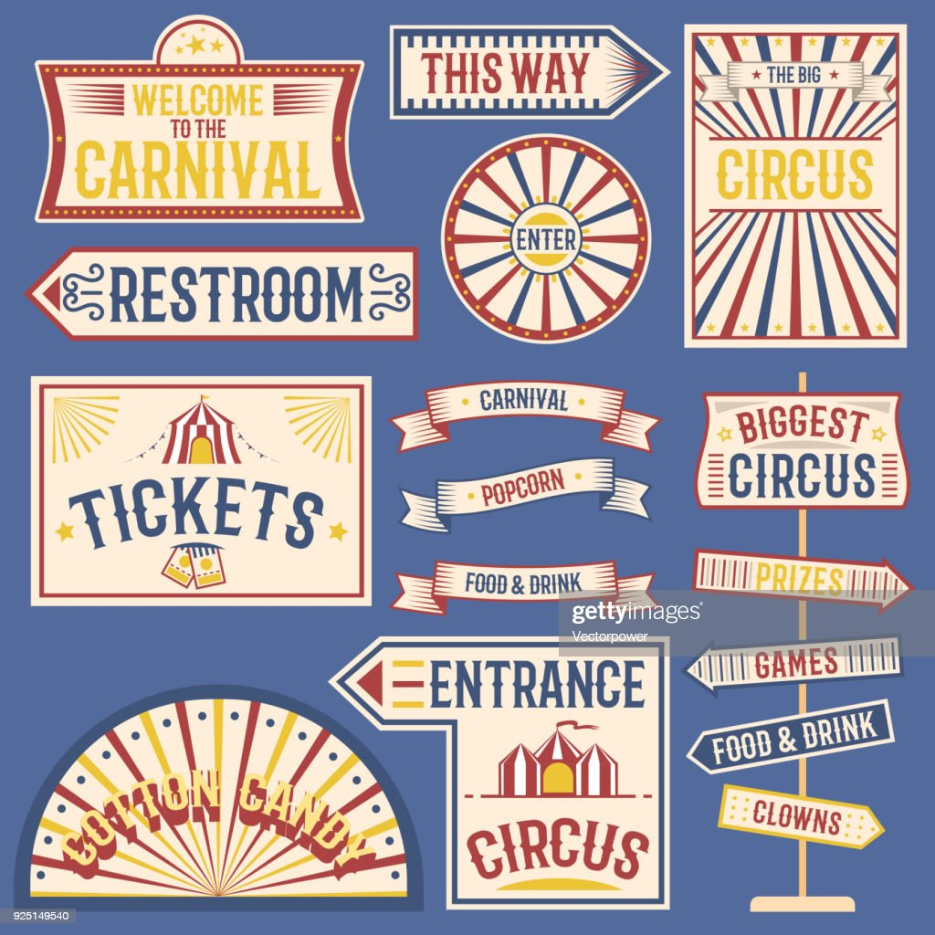 Circus labels carnival show banner vintage label elements for circus design on the party theme. Collection of symbols old-style fashioned festive party emblems and s fun tag graphic illustration