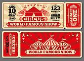 Circus magic show entrance vector tickets templates