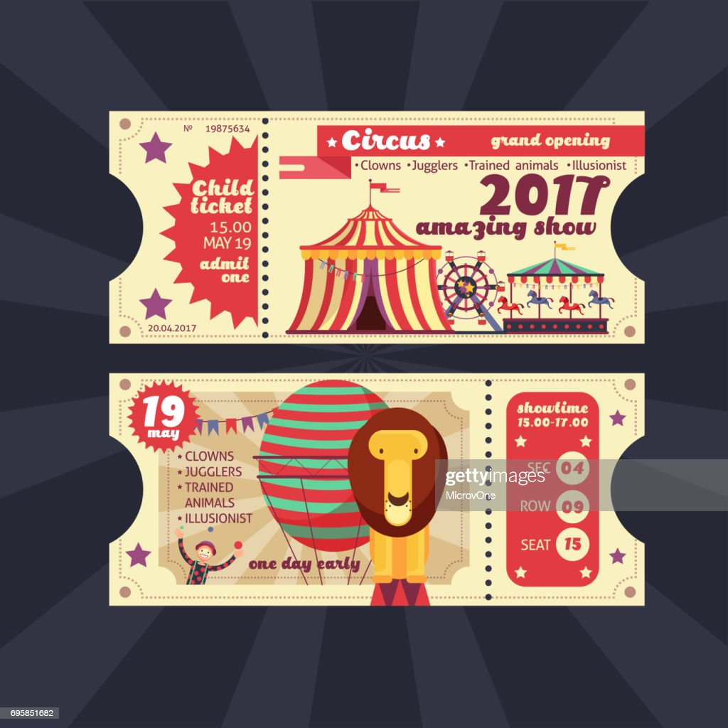 Circus magic show ticket vector vintage design isolated