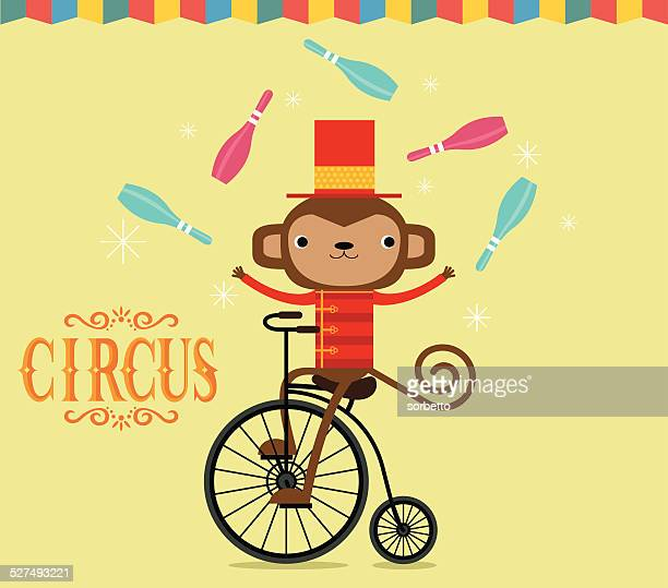 circus monkey juggling - juggling stock illustrations, clip art, cartoons, & icons