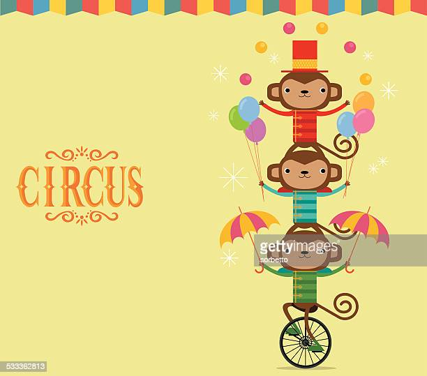circus monkey juggling - unicycle stock illustrations, clip art, cartoons, & icons