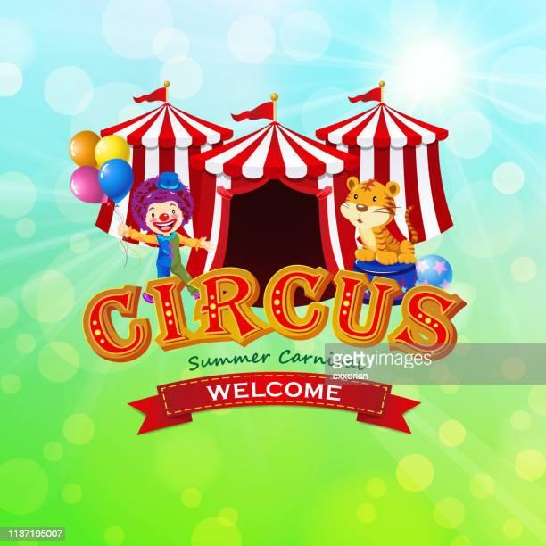 ilustraciones, imágenes clip art, dibujos animados e iconos de stock de circo en el carnaval de verano símbolo - carpa de circo