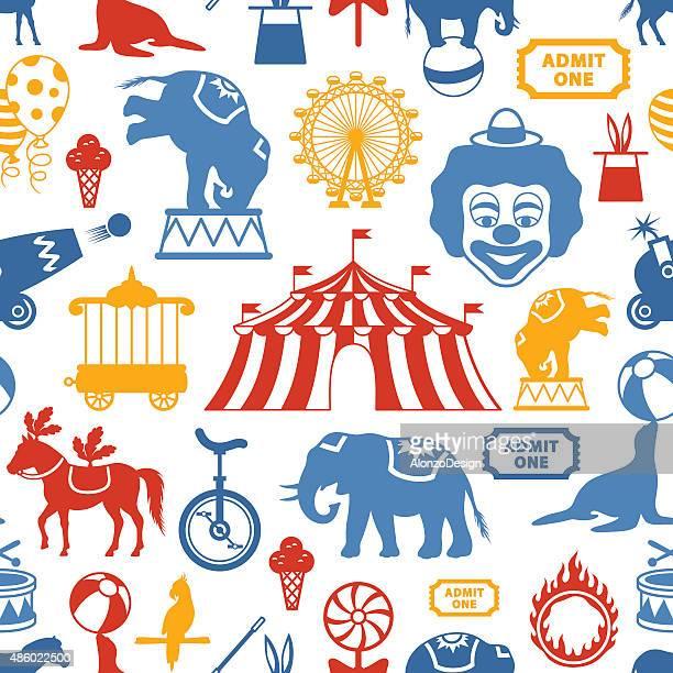 circus pattern - circus tent stock illustrations, clip art, cartoons, & icons