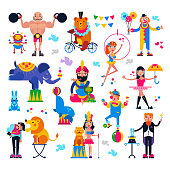 Circus people vector acrobat or clown and trained animals characters in circus-tent illustration set of magician and circusman with lion or elephant isolated on white background