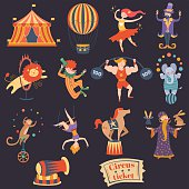 Circus performance decorative icons set with athlete animals magician vector