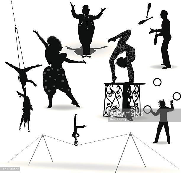 circus performers, acrobat, juggler, clown, ring leader - juggling stock illustrations, clip art, cartoons, & icons